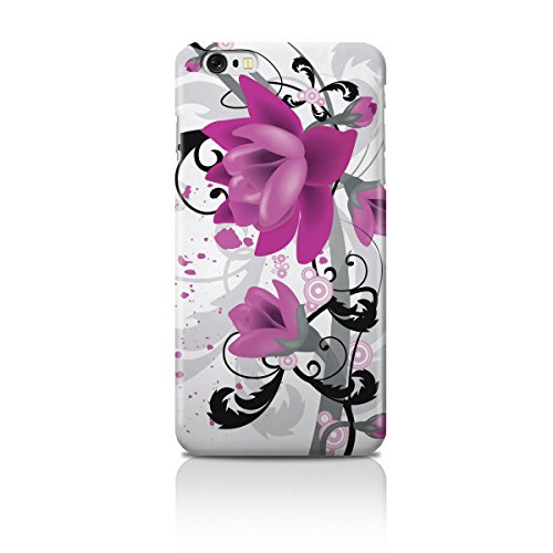 Cell Shell ® iPhone 6 (4.7) Case / Cover / Custodia / Skin Rigida in Plastica / Snap On - Disegno bianca con Porpora Fiori