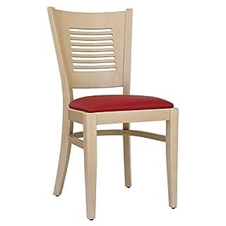 abritus Set 2 Stühle Esszimmerstuhl Buche massiv Natur gepolstert rot »TG004«