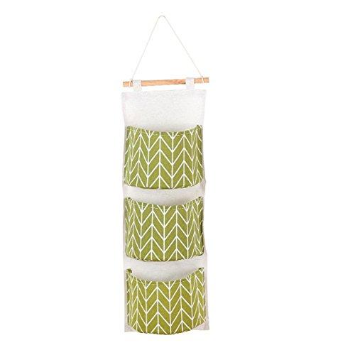 Aikesi portaoggetti da appendere con 3 tasche portatutto da porta e parete in lino sacche portaoggetti per animali di peluche cellulari chiavi e più (verde)