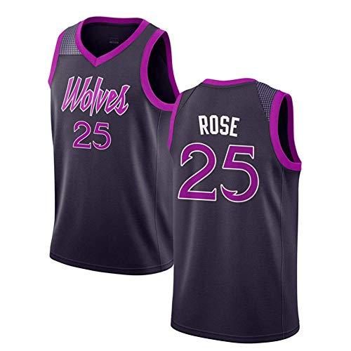ZAIYI-Jersey Herren Basketball Derrick Rose # 25 - NBA Minnesota Timberwolves, New Fabric Embroidered Swingman Jersey Ärmelloses Shirt (Color : B, Size : M) Derrick Rose Jersey