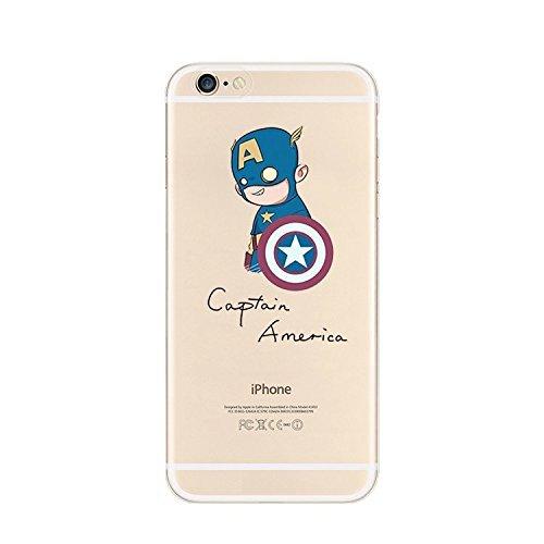 New Marvels Avenger Transparent Clear TPU Soft Case For Apple iPhone 7 Plus JOKER 2 CAPTAIN AMERICA 1
