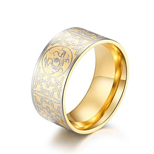 WLXW Viking Edelstahl Drachen Ring, Herren Schwarz Gothic Ring Nordic Raytheon Einzigartigen Charme Ring Herrenschmuck, Wunderbare Zukunft, Abschluss Geschenk,Gold,12