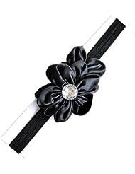 Hermosa Unusal niño bebé niña elástico encaje flor diadema diadema pelo Accessories(3 pcs) , black