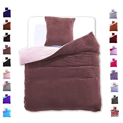 155x220 cm Bettwäsche mit 1 Kissenbezug 80x80 Mikrofaser Weich Warm Winter Kuschelig Bettbezug Bettwäschegarnitur braun beige brown Furry