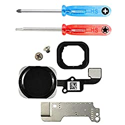MMOBIEL Home Button für iPhone 6 / 6 Plus (Schwarz / Space Grey) Homebutton mit Flexkabel Taste inkl. Metal Bracket Gummi Halterung und 2 x Schraubenzieher