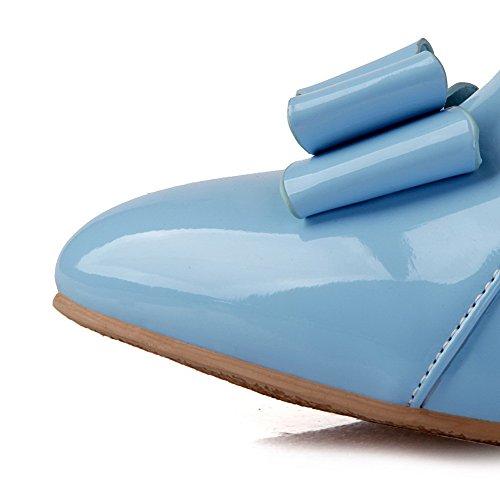 AllhqFashion Damen Mittler Absatz Lackleder Rein Ziehen Auf Spitz Zehe Pumps Schuhe Blau