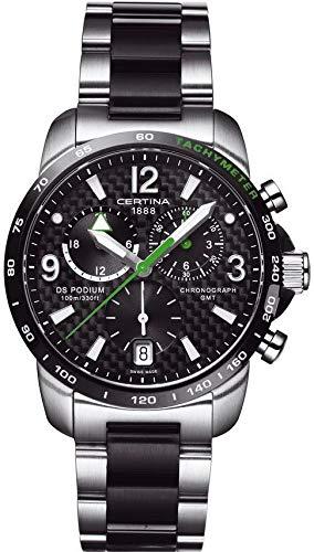 Certina - Orologio da polso, cronografo al quarzo, acciaio INOX, Uomo