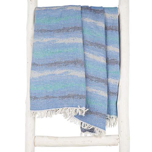 Zusenzomer fouta telo mare leggero xl 'zanzi' - disegno unico 100x200cm | 100% cotone assorbenza & più morbido | un telo hammam grande, ideale per sauna spiaggia vacanze (blu e turchese)