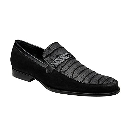Franco Cuadra Crocodile Leather Loafers for Men Habano Negro