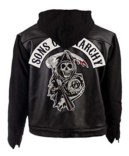 Fashion_First Herren Jacke Schwarz Sons of Anarchy Jacket Gr. XXX-Large, Hoodie Black Jacket