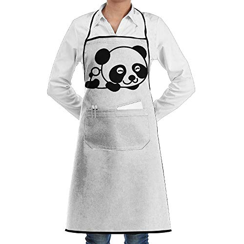 dfgjfgjdfj Cartoon Smile Panda Schürze Lace Unisex Mens Womens Chef Adjustable Polyester Long Full Black Cooking Kitchen Schürzes Bib with Pockets for Restaurant Baking Crafting Gardening BBQ - Lady Panda Kostüm