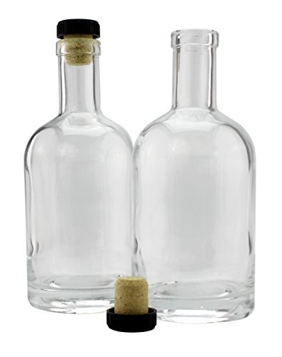 ML Schnapsflaschen (2er Pack); Glas ist klar W/t-top synthetischen Korken Heavy Base Beverage Glas
