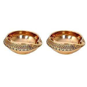 Superbazaar Brass Kuber Deepak (Diya Oil Lamp) for Puja Home Decor - 2 Pcs