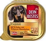 Dein Bestes Exquisit Nassfutter für Hunde, 60 % Huhn mit leckeren Filetstücken, 300 g Alleinfuttermittel