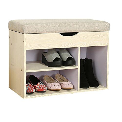 LVZAIXI Schuhschrank Lagerung und Sitz Holzschuh Locker Bench (Farbe : Weiß, Größe : 80*30*46cm)