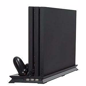 PS4 Slim Standfuß mit Lüfter Vertikaler Ständer Dockingstation Dual Cooler Pad System für Konsole + 2 Fernbedienung Controller Ladestation + 3 USB Port Hub für Sony PlayStation