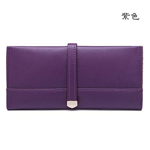 Mefly Onorevoli Portafoglio In Pelle Coreano Lunga Tagliatelle Morbida Borsa A Mano Moda Claret Violet