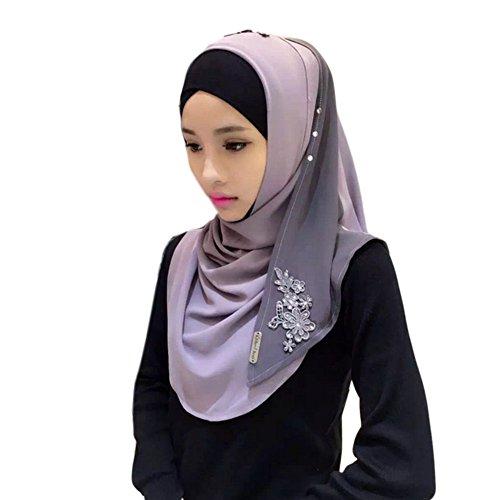 Haodasi Femmes Mode Muslim Écharpe Dentelle Broderie Épissure Arabian Coton Châle Hijab 01#
