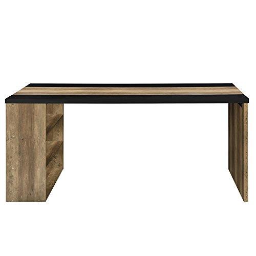 [en.casa] Schreibtisch mit 3 Ablagefächern - MDF, furniert - 180x78x77cm - Holzfarben/Schwarz - Arbeitstisch Computertisch - 3