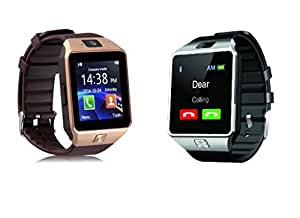 HTC Desire 626s Compatible PACK OF 2 Bluetooth Smart Watch Dz09 Phone With Camera And Sim Card & Sd Card Support Fitness Band Fit Features Compatible With Andriod devices by JIKRA