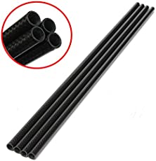 Rishil World 4pcs 3K 8mm x 10mm x 500mm Roll Wrapped Carbon Fiber Tube Boom for Multicopter