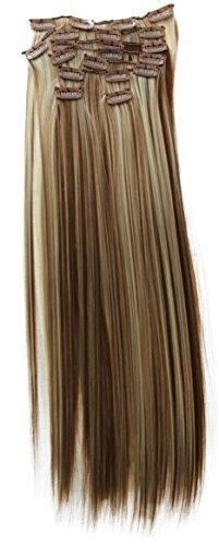 PRETTYSHOP XL 7 pièces SET tête entière Clipser dans les extensions Extension de cheveux postiche résistant à la chaleur lisse mélange blond brun # 12H613 CE19