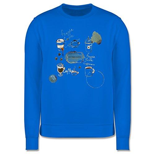 Statement Shirts - But first: Coffee Wasserfarben - Herren Premium Pullover Himmelblau