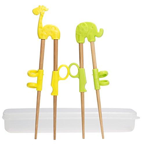 2 Paar Training Essstäbchen, uniquQ Kinder Lernen Stäbchen Tiere Lernen Stäbchen Elefant Giraffe Holz Chopsticks mit Box (Training Tragen)