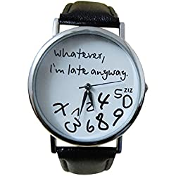 Mallom® Women Watch Wathever I am Late Anyway Letter Watches Black