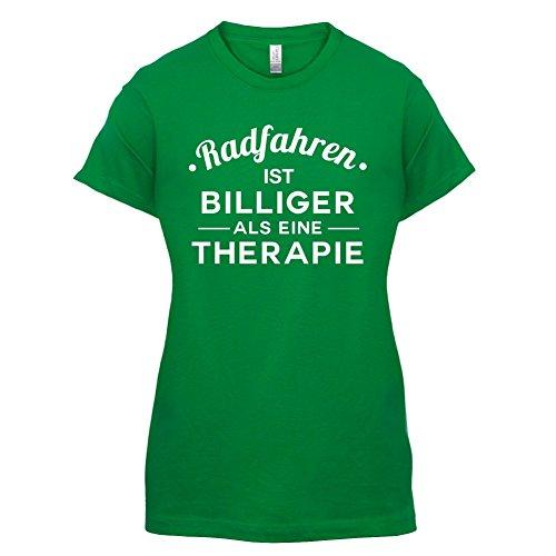 Radfahren ist billiger als eine Therapie - Damen T-Shirt - 14 Farben Grün