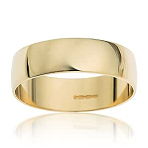Kareco Unisex Wedding Ring, 9 Carat Yellow Gold D Shape, 4mm Band Width , Size H