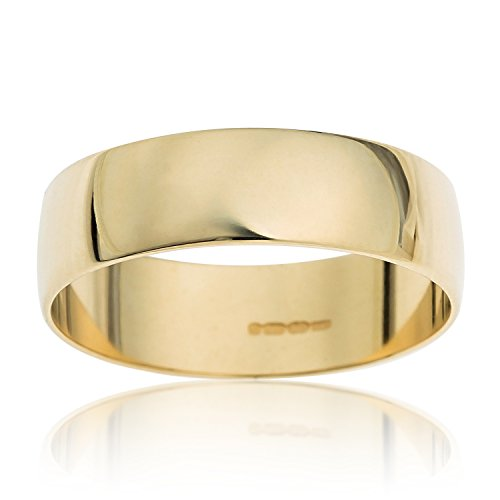 Kareco Unisex Wedding Ring, 9 Carat Yellow Gold D Shape, 4mm Band Width, Size N