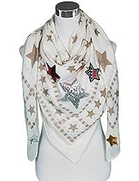 Mevina Schal mit Stern Patches Glitzer Steine Patch Sterne Glitzersteine Aufnäher groß quadratisch Schal Halstuch Oversized Premium Qualität