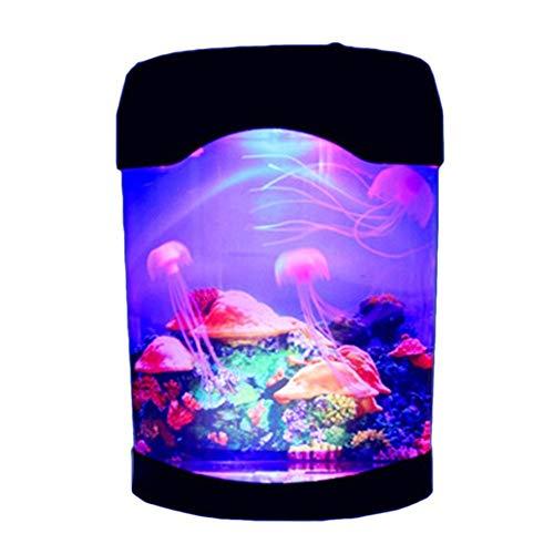 LDAKLE Schöne Bunte Quallen Tank Marine World Schwimmen Stimmungslicht Led Bunte Aquarium Nachtlichter Kinder Lampe Marine Wireless Remote