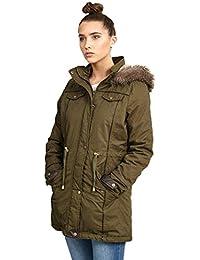 6d157ce673cce CHOCOLATE PICKLE New Womens Plus Size Fur Hood Fish Tail Hem Long Khaki  Parka Padded Jacket