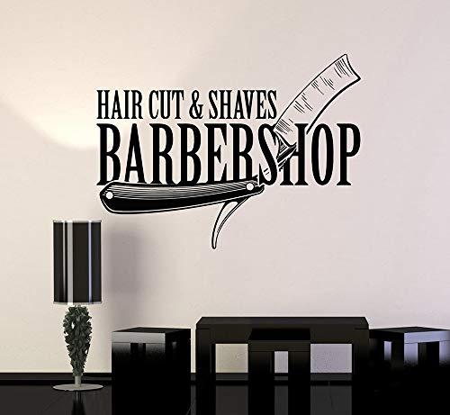 guijiumai Barbershop Hair Cut Shaves Salon Wandaufkleber Abziehbild Removable Home Interior Decor Art Abziehbilder Friseur Mode Poster weiß 76x56 cm -