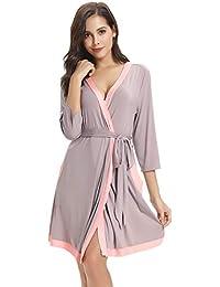 Aibrou Femme Peignoir Cotten Robe de Chambre Kimono Nuisette Déshabillé  Vêtements de Nuit Femme Satin Lingerie 7ad9da1eaf9