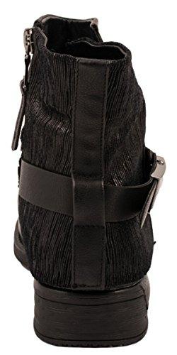 Elara Damen Biker Boots | Trendige Kurzschaft Stiefeletten | Schnallen Nieten Schwarz New York