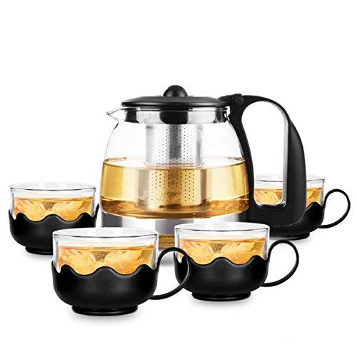 Teekanne aus Glas 700 ml, Glas Teekanne-Set XAGOO Teebereiter mit Sieb für Blooming & Loose Tee (1 Glas Teekanne + 4 Tea Tassen )