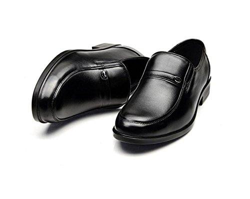 GRRONG Chaussures En Cuir Pour Homme En Cuir Véritable Affaires Noir Loisirs Black