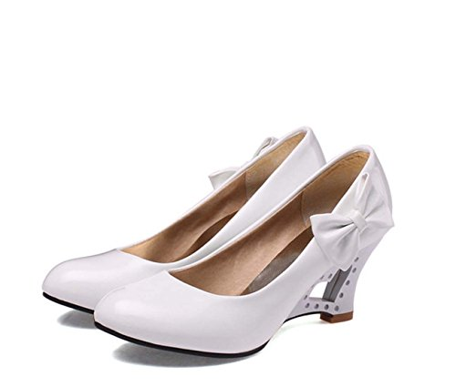 Mode All Seasons Nude Schuhe runde Toe Wedge Heel Shallow Mund Slip auf Candy Color Bow Casual Schuhe Dating Schuhe ( Color : White , Size : 37 ) (Slip Kalb)