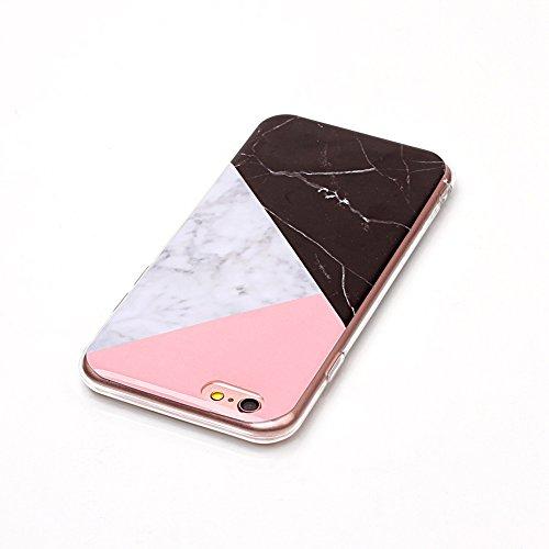 Daorier 1× Housse de Protection pour iPhone 6/iPhone 6s Silicone TPU Étui Housse Souple Antichoc Protecteur Cover Case Marbre Désign (Blanc et Rose) Noir
