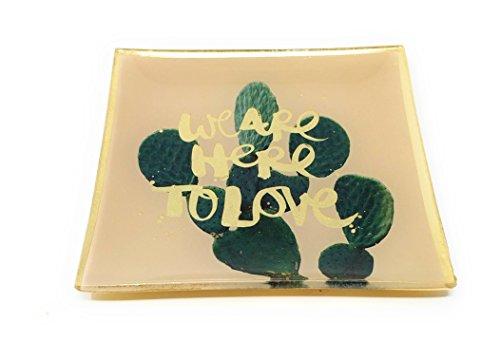 SoulSisters Living Kaktus Tablett Porzellan 10x10cm Tapasschale Glasteller Serviertablett Servierplatte Käseplatte Fleischteller Fleischplatte Tablett
