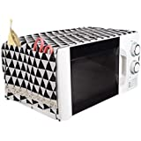 Zollyss Microwave Oven Dust Proof Cotton Linen Cover with Side Puch Bag Kitchen Storage Bags; 85 x 35 cm (Black , Standard )