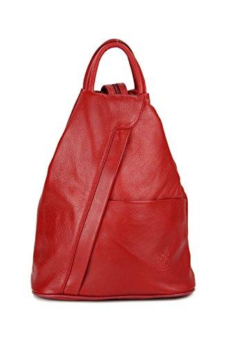Belli 'City Backpack leichte ital. Leder Rucksack Handtasche - Farbauswahl - 29x32x11 cm (B x H x T) (Rot)