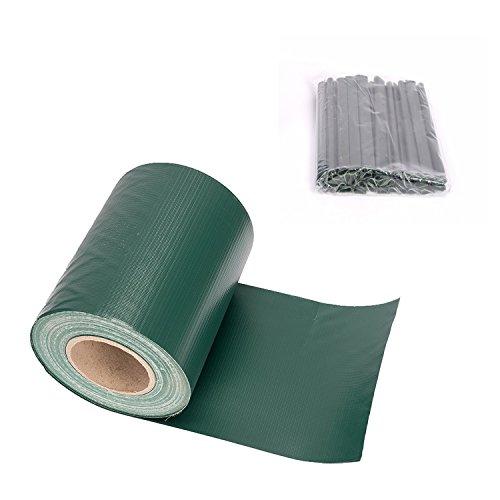 MERITON 35m PVC Sichtschutz Streifen Zaunblende Zaunfolie Rolle Doppelstabmatten inklusive 25 Befestigungsclips - Grün
