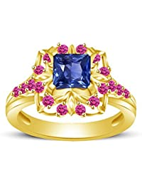 Atjewels Princess & Round Cut Blue & Pink Sapphire 14k Yellow Gold Over .925 Sterling Silver Engagement Ring Size...