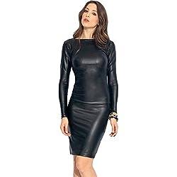 Nuevas señoras negro Reversible de piel sintética Midi vestido Club verano vestido Casual vestido de fiesta tamaño UK M 10–12EU 38–40