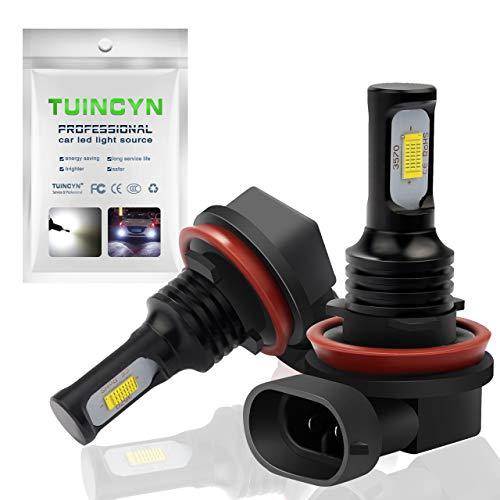 TUINCYN Lot de 2 Ampoules LED H11 H9 H8 Blanc 6500 K 2400 lumens Puces CSP pour Feux de Circulation diurnes