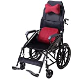 Wheelchair Folding Lightweight With Full-Length Arms And Elevating Leg Rests,46Cm Seat,Handbrake Transport Wheelchair
